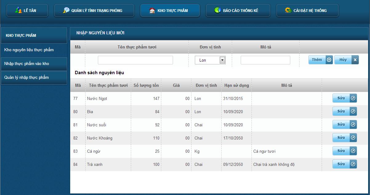 Giao diện phần mềm quản lý khách sạn